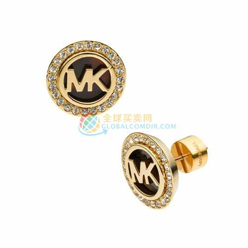 Michael Kors Logo Pave Stud Golden Earrings