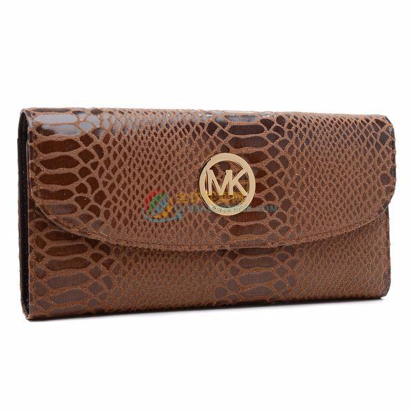 Michael Kors Coffee Patent Python-Embossed Leather Wallet