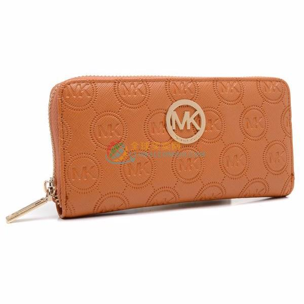 Michael Kors Monogram Embossed Zip Around Continental Wallet Brown