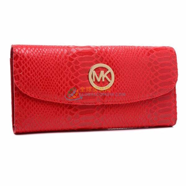 Michael Kors Red Patent Python-Embossed Leather Wallet